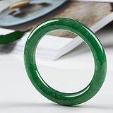 缅甸翡翠老坑冰糯种满绿圆条手镯