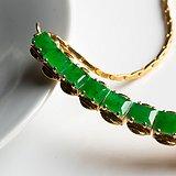 缅甸翡翠A货老坑冰糯种满绿铜托项链