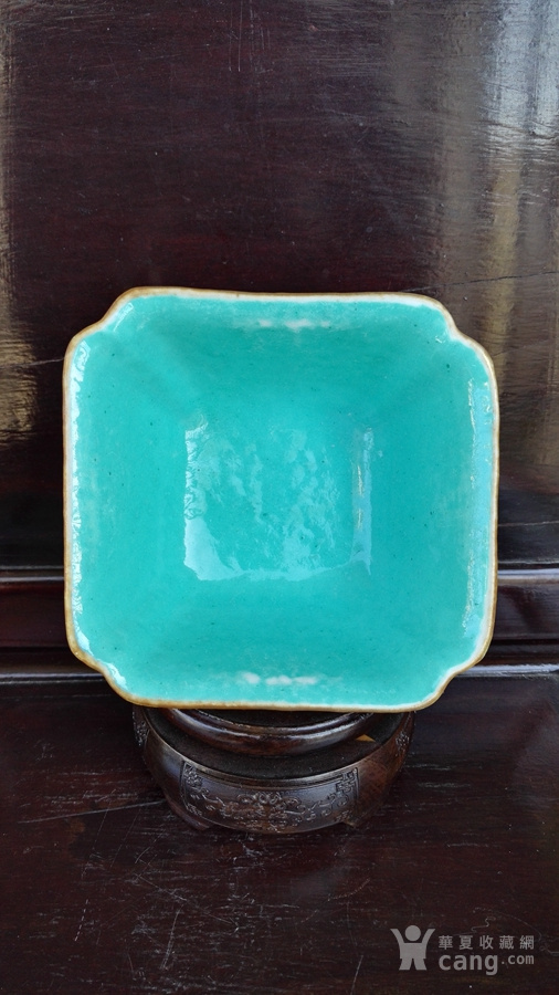 同治蓝料粉彩 金玉满堂 四方供碗。