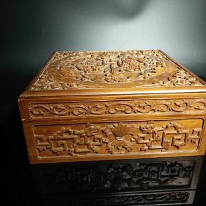 清代 印度老山檀香木高浮雕福庆有余缠枝纹捧盒 文房类棋