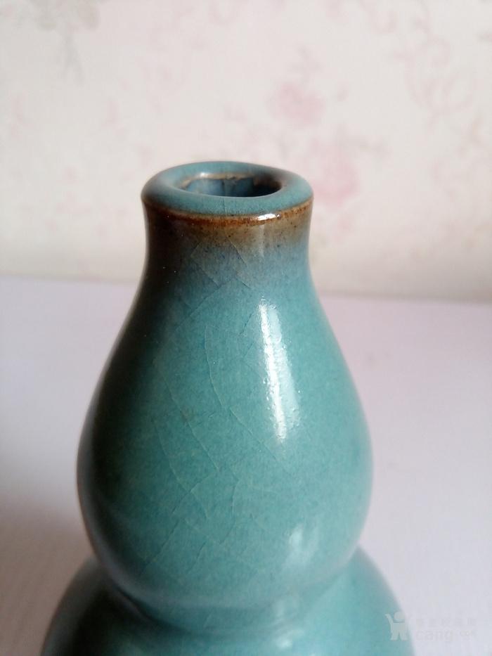 金元时期           钧窖天青带红斑小葫芦瓶