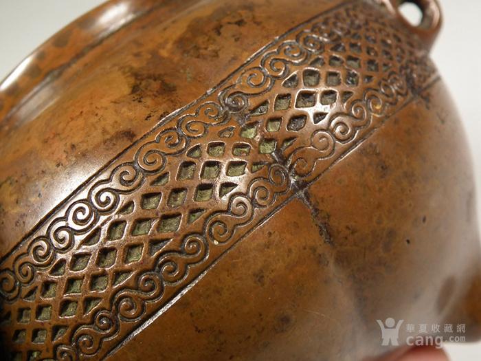 老黄铜三兽面三足大香炉图6