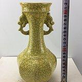 双象耳开片黄釉瓷瓶A2931