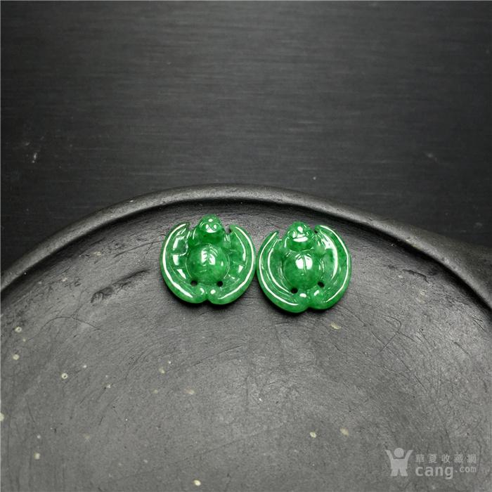 玉泉文玩x750创汇期豆种满绿翡翠蝙蝠镶嵌件2个