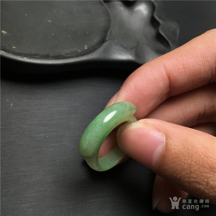 玉泉文玩x751创汇期糯冰种飘正阳绿翡翠马鞍戒指