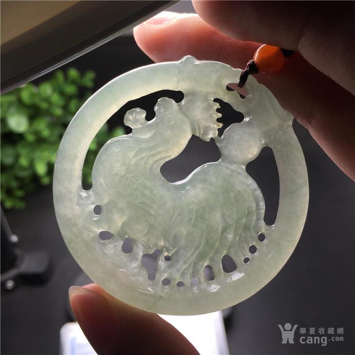 玉泉文玩x752创汇期冰糯种翡翠双龙金鸡报晓圆佩
