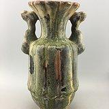 酱釉孔雀双耳瓷瓶A4776