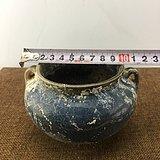 乡下收来的蓝釉瓷罐A3131