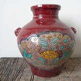 老红釉彩罐子