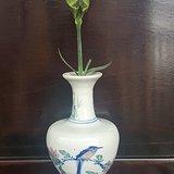 民国元年,礼陵釉下花鸟纸锥瓶。