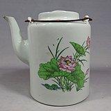 文革时期细路粉彩荷花题词绘画提梁壶