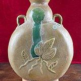 黄釉花卉老瓷瓶A0179
