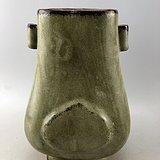 绿釉方口瓷瓶A5540
