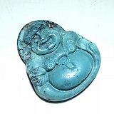 出口创汇时期 原矿 高瓷 高蓝 绿松石 弥勒佛 手工雕刻