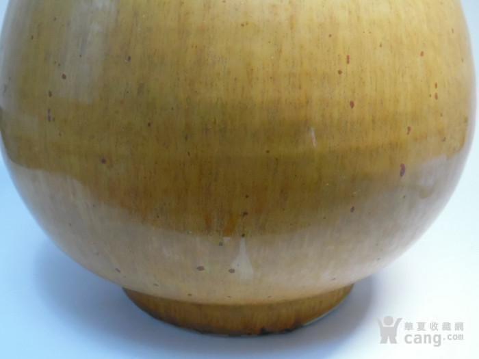 本网已鉴定 晚清 拉丝黄釉玉壶春瓶
