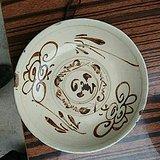 明朝中期磁州窑白底黑花写意花卉纹饰的大碗