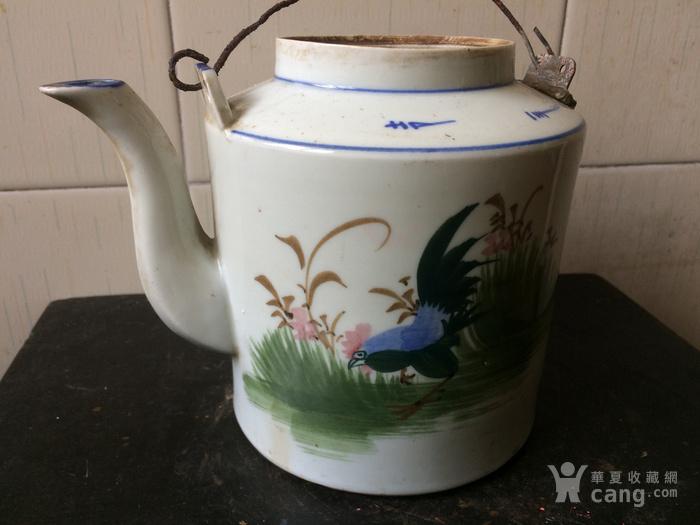 民国手绘公鸡茶壶