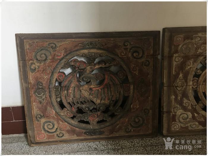 g 881清代精品老木雕 镂空仙鹤雕花板