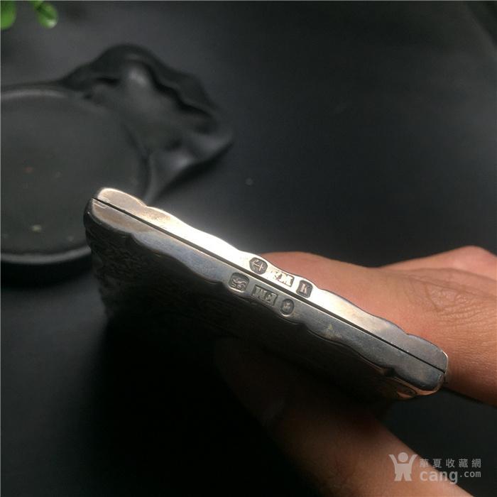 玉泉文玩z93*回流年纯手工刻花925银名片盒