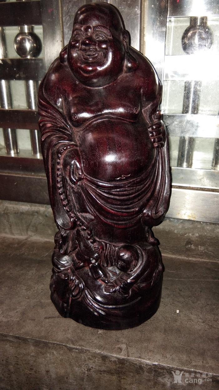 小叶紫檀木雕弥勒佛