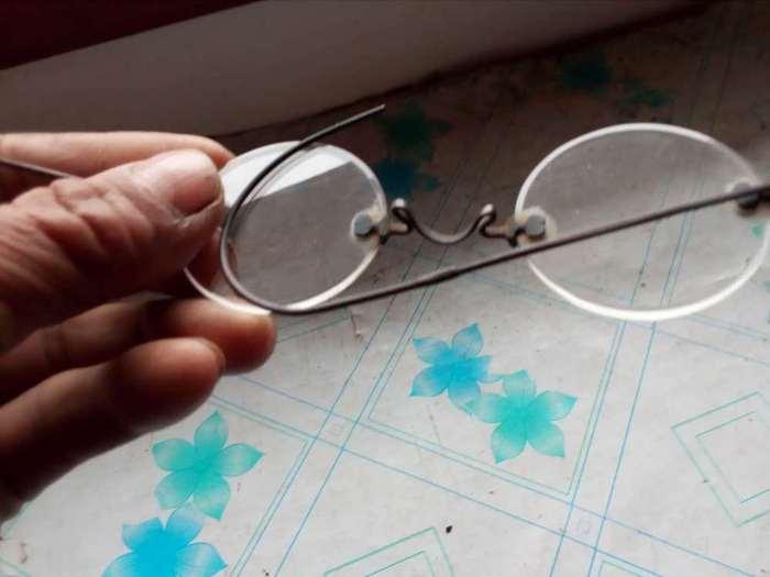 老银框水晶眼镜