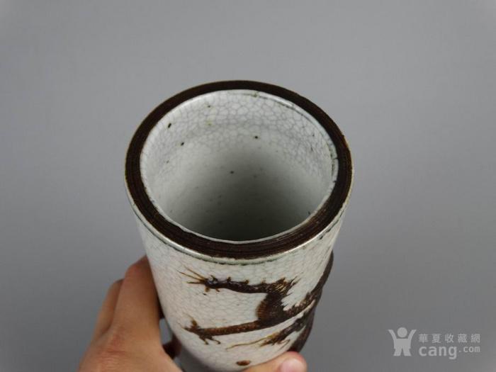 清代哥窑堆塑龙纹帽筒