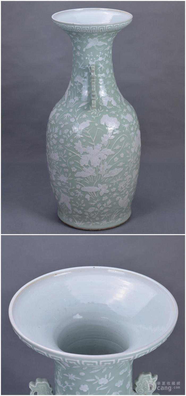 清中 500件 豆青釉堆白 大瓶图3