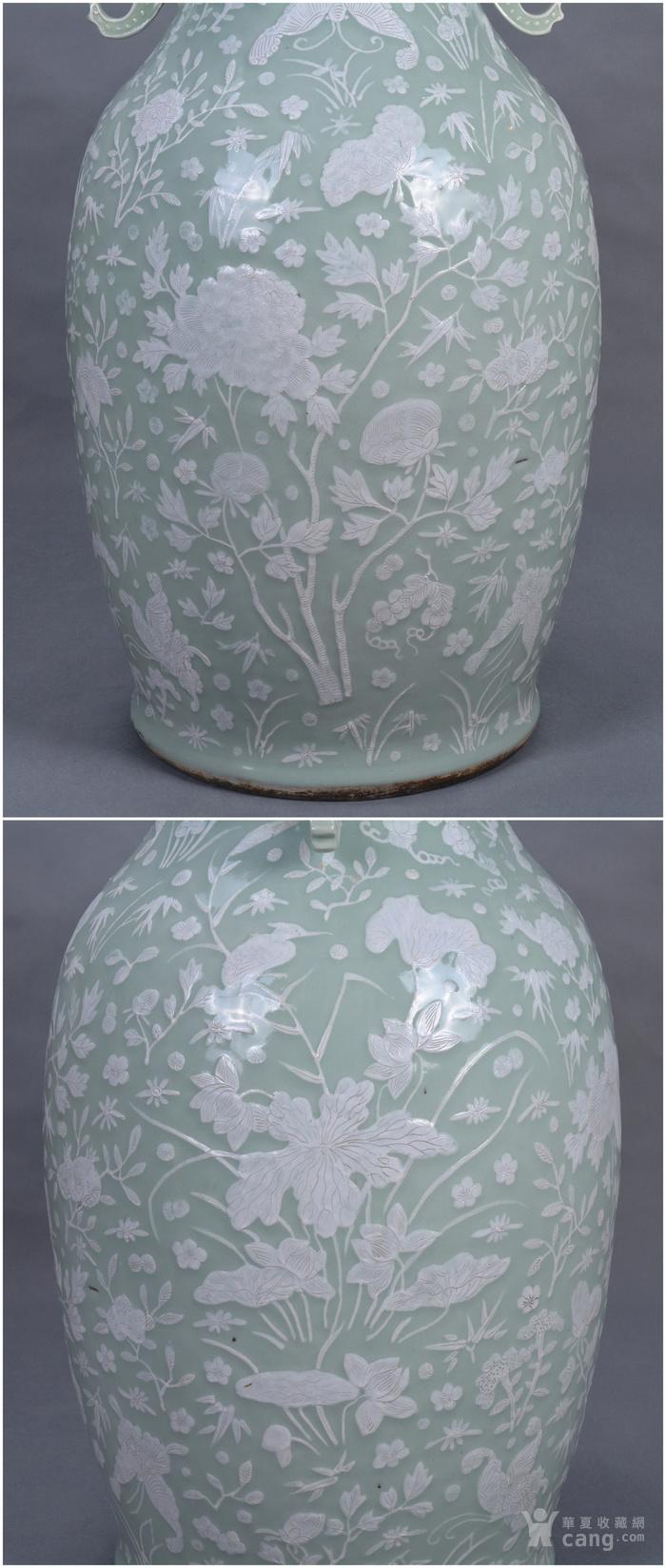 清中 500件 豆青釉堆白 大瓶图6