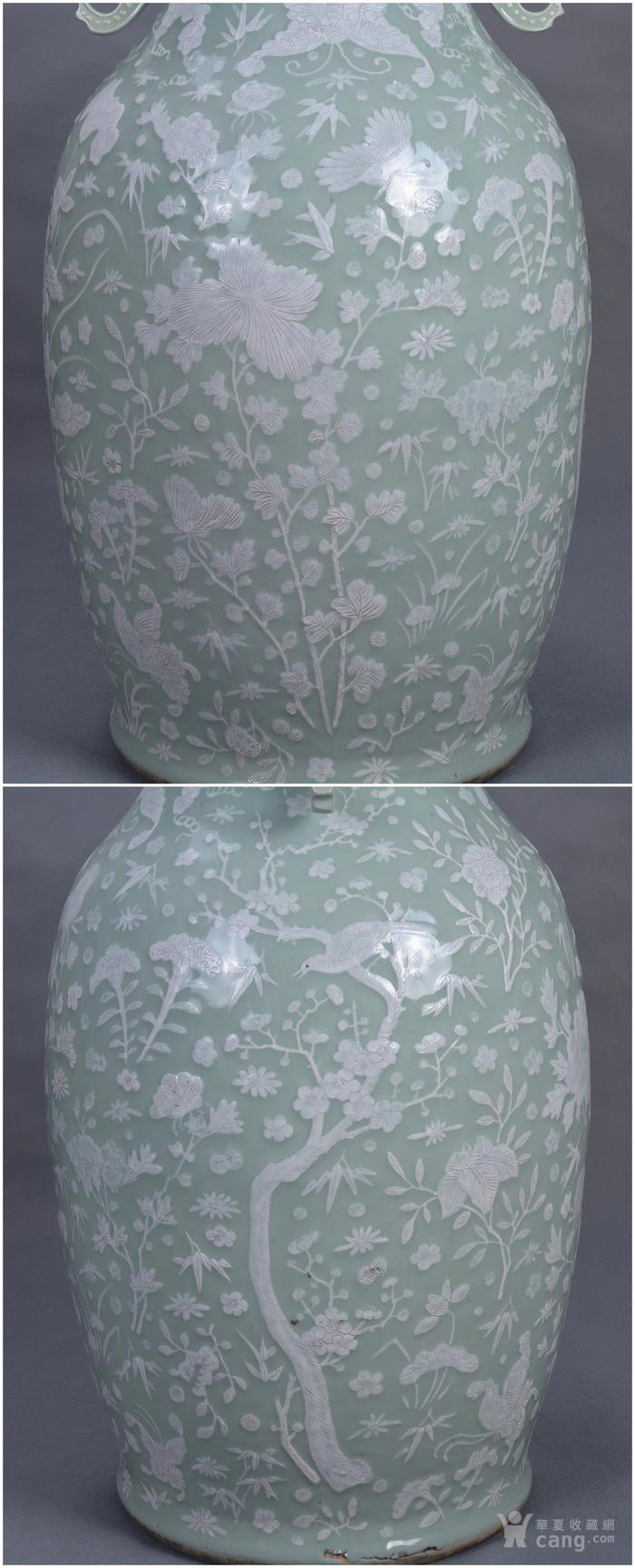 清中 500件 豆青釉堆白 大瓶图7