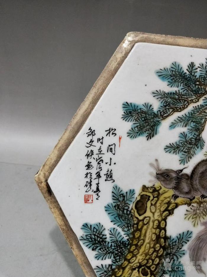 民国粉彩松鼠方瓷板