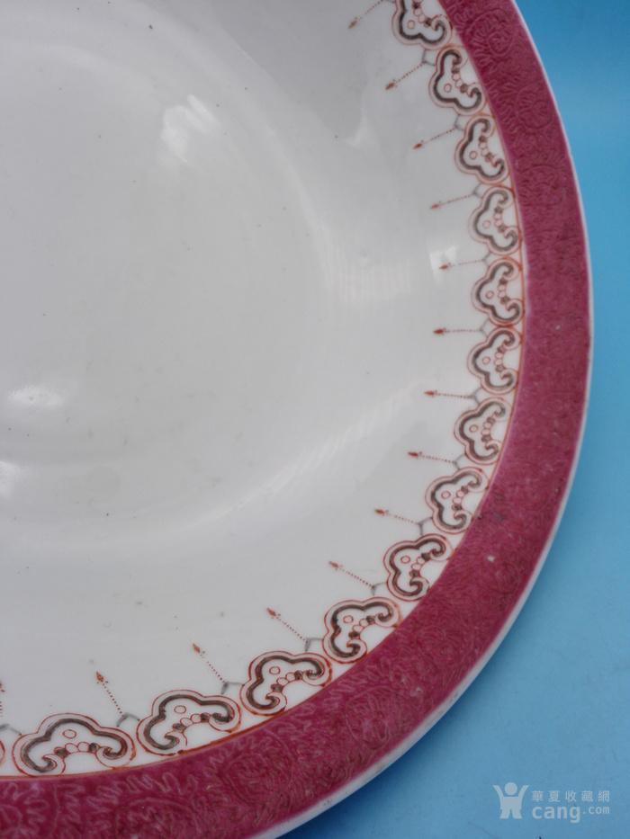 民国乾隆款胭脂红轧道宝相垂帘纹大碗