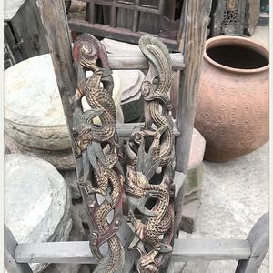 g 1033明清老木雕 龙柱 古玩民俗老物件