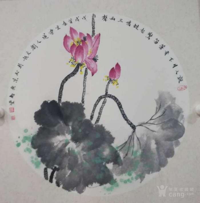 北京无极堂书画院推荐国家一级美术师刘文顺国画团扇荷花图