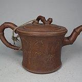 清代红泥紫砂竹节诗文大茶壶