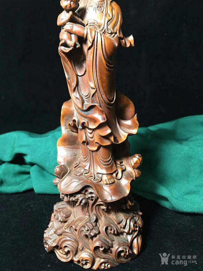 老黄杨木雕送子观音摆件