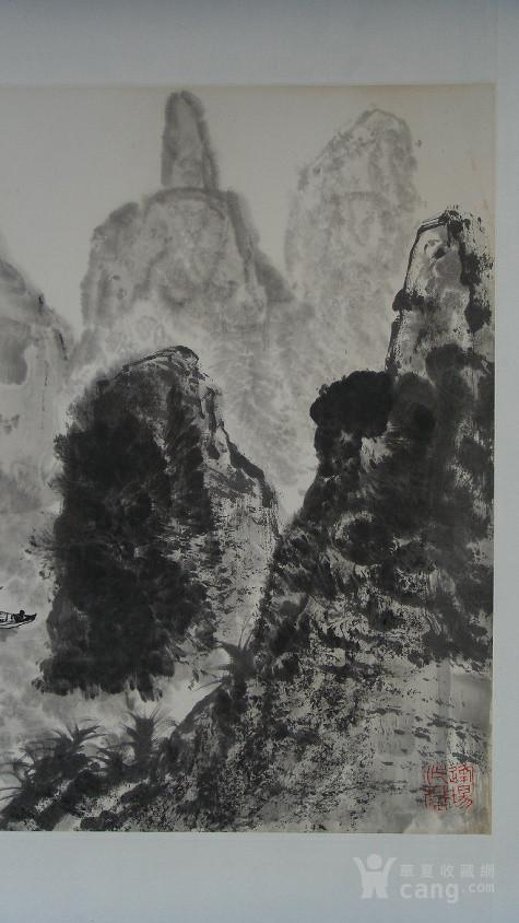 海派著名畫家 胡振郎 水墨山水橫幅
