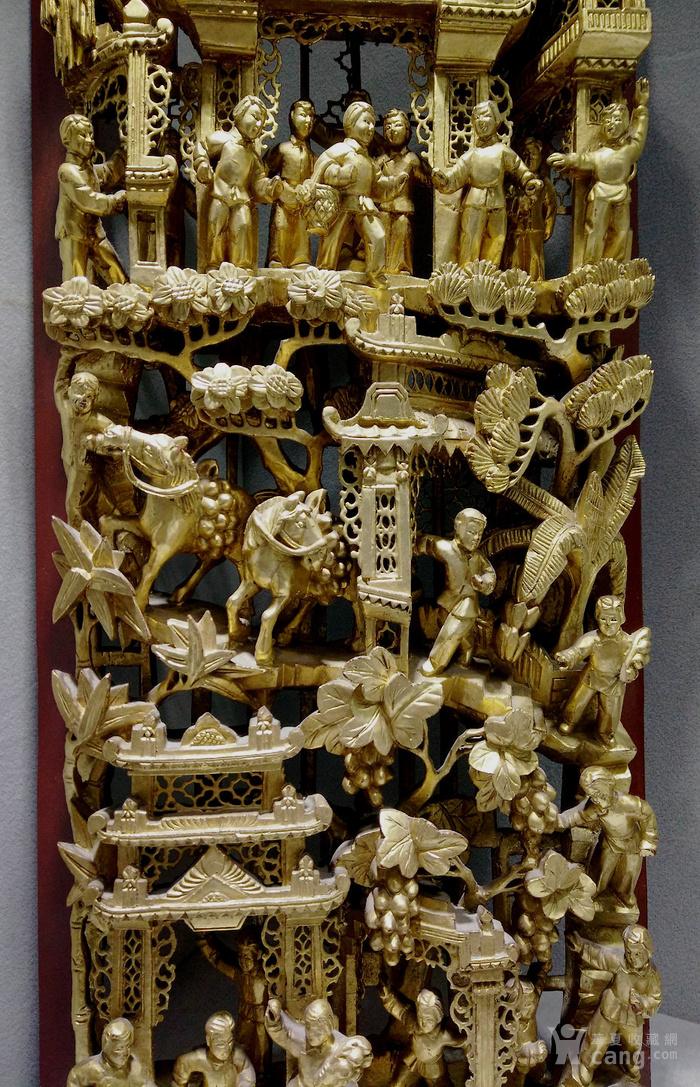 建国初期 潮汕鎏金高浮雕木雕花板挂件 迎接亲人战士