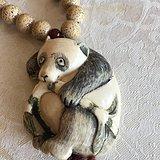 近代大师柳月精刻熊猫挂件