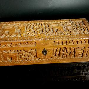 民國 高山芬香的天然老檀香木雕滿工浮雕亭臺樓閣首飾盒