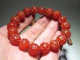 晚清 正宗保山南红 柿子红 精雕 如意头纹 圆珠手串