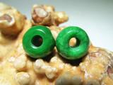 民国时期 满辣绿 天然翡翠 算盘珠 对 色泽艳丽 极其养眼