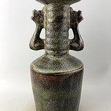 酱釉双耳瓷瓶A6205