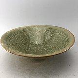 绿釉花鸟瓷碗A6217