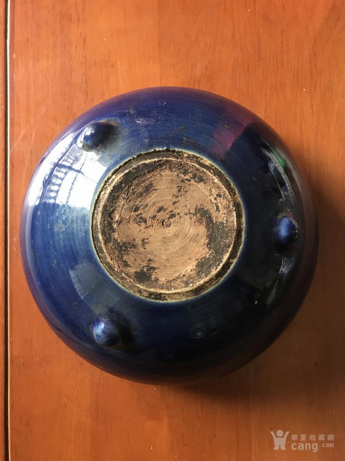 清中期季蓝釉鼓钉香炉 全品包老