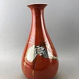 福寿红釉鎏金瓷瓶A6159