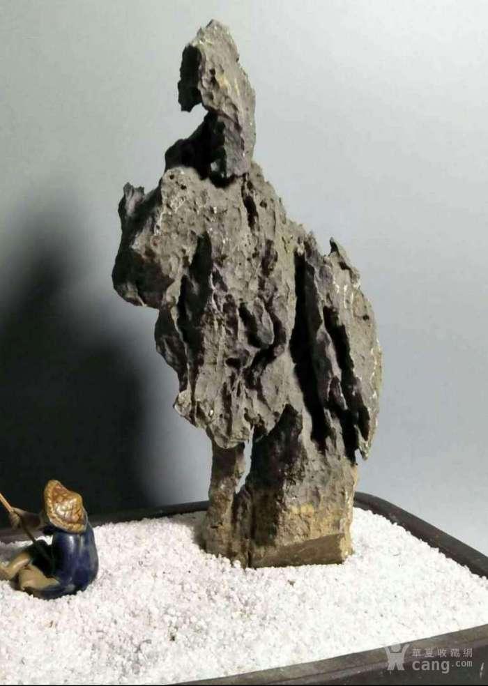 盆景附石英石案头奇石摆件