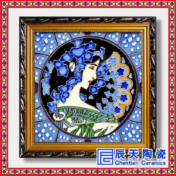 简约现代欧式瓷板画酒店客厅简美风格手绘人物挂画定制