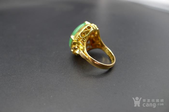 阳绿老翡翠戒指 18K金镶嵌