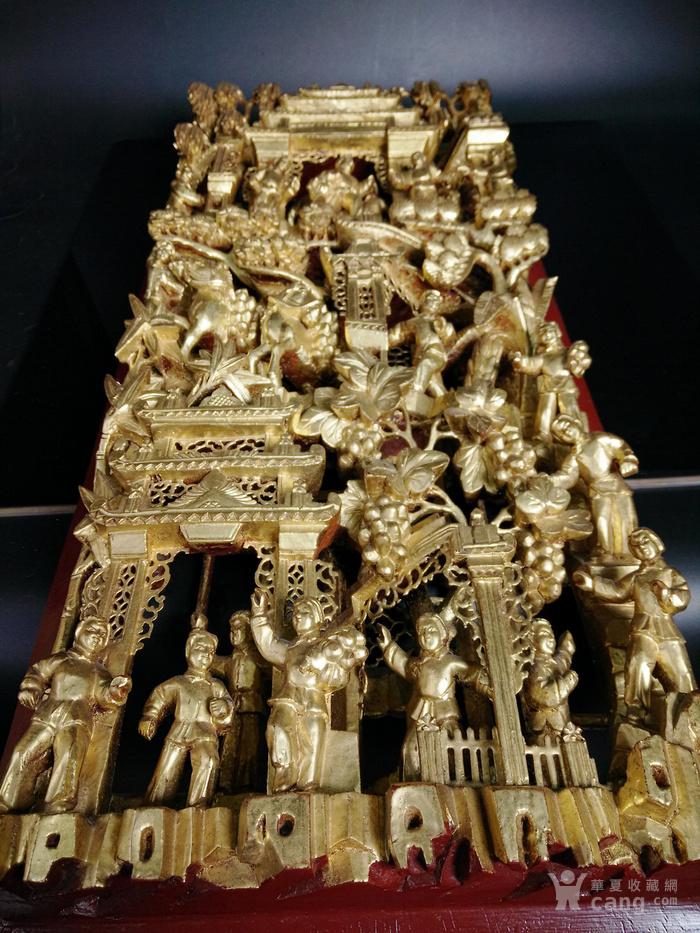 建国初期 潮汕鎏金高浮雕木雕花板挂件 喜庆人物故事旧藏