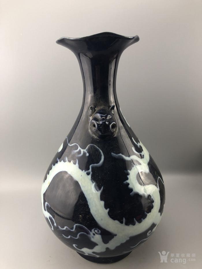 纹龙蓝釉瓷瓶C0339